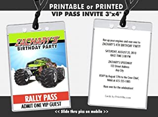 Monster Truck Birthday Party VIP Pass Invitation, Printable or Printed Option