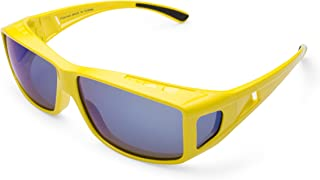 Mr.O Fitover Polarized Sunglasses + Ultra thick Microfiber Pouch (Stylish yellow, Grey w/blue Revo)