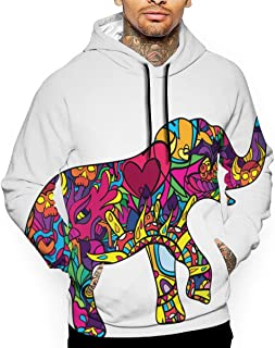 Psychedelic Elephant Body Silhouette Poster Icon Vector Illustration_514344406 Men's Hoodie,Sweatshirts White