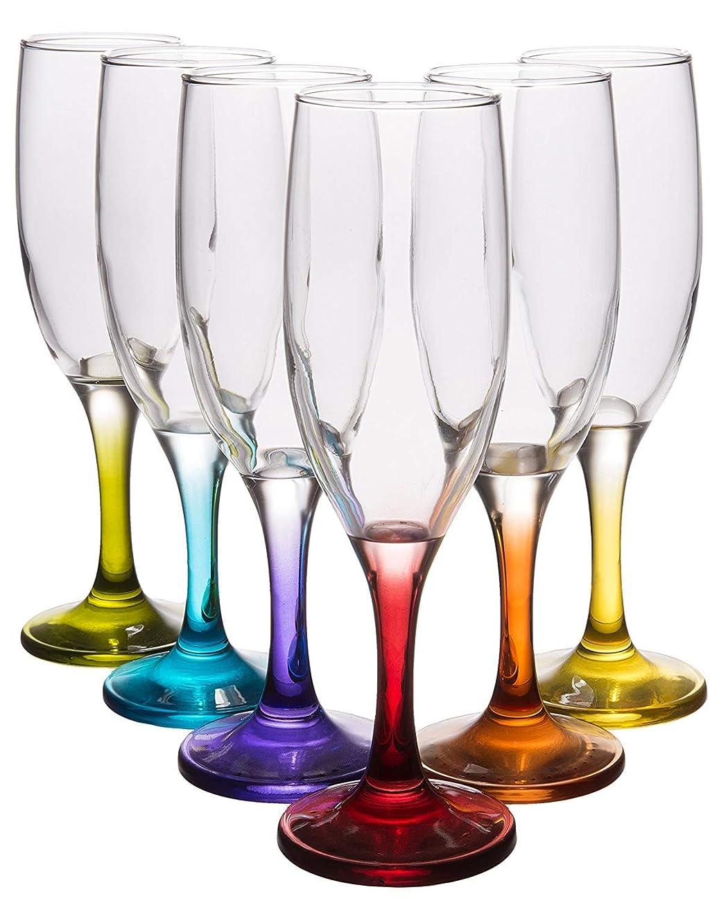 スローガントロリー申請中Coral Fame クラシックシャンパンフルート エレガントなクリスタルクリアワイングラス 色付きステム付き 6個セット 7.25液量オンス