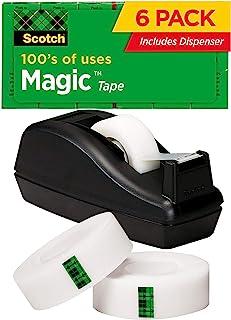 نوار جادویی اسکاچ با ضسبنسرس سیاه ، کاربردهای بی شماری ، مهندسی شده جهت استفاده در منزل و لوازم خانگی ، 3/4 1000 1000 اینچ ، جعبه ، 6 رول ، 1 دستگاه ضسبنسرس (810K3)