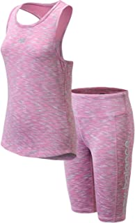 New Balance Girls' Bike Shorts Set - 2 Piece Sleeveless Performance Tank Top and Bike Shorts Activewear Set (Big Girl)