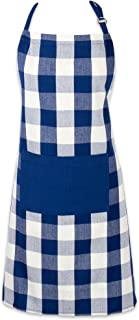"""DII Cotton Adjustable Buffalo Check Plaid Apron with Pocket & Extra-Long Ties, 32 x 28"""", Men and Women Kitchen Apron for Cooking, Baking, Crafting, Gardening, & BBQ - Navy & Cream"""