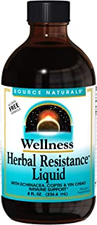 Source Naturals Wellness Herbal Resistance Liquid Immune Defense Supplement & Immunity Booster with Echinacea, Elderberry & Yin Chiao - Alcohol Free - 8 OZ