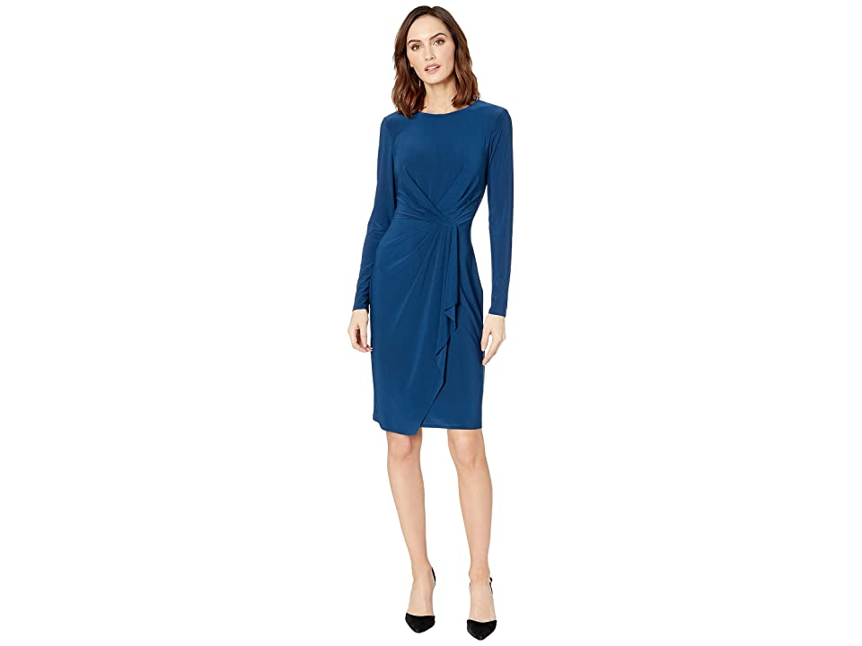 LAUREN Ralph Lauren Matte Jersey Svetlana Long Sleeve Day Dress (Luxe Beryl) Women
