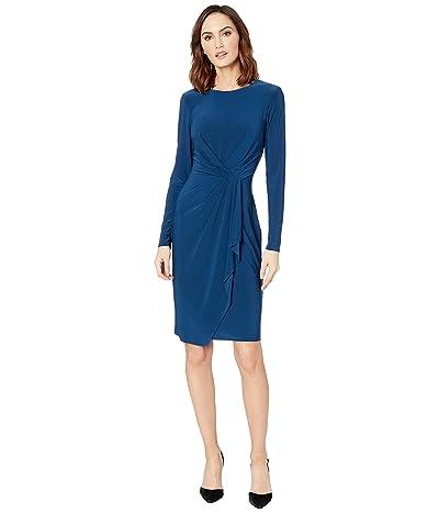 LAUREN Ralph Lauren Matte Jersey Svetlana Long Sleeve Day Dress (Luxe Beryl) Women