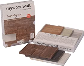 mywoodwall Non-Toxic DIY Wood Wall Paneling Brushed Grain Collection, Timeless Design, 100% FSC Certified Real Wood, Peel/Press Easy Installation, 6 Assorted Colors, Each 7 3/4