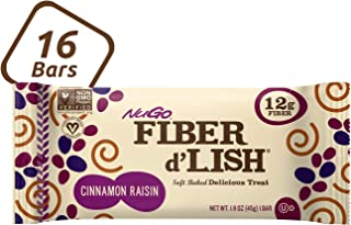 NuGo Fiber d'Lish Cinnamon Raisin, 12g High Fiber, Vegan, 130 Calories, 16 Count