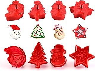 Gwhole Lot de 4 Emporte-pièces Noël avec Poussoirs Biscuit Moule Cookie Pâtisserie Gâteau Fondant Décoration en Forme de F...