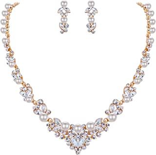 EVER FAITH Bridal Leaf Jewelry Set Clear Austrian Crystal Simulated Pearl