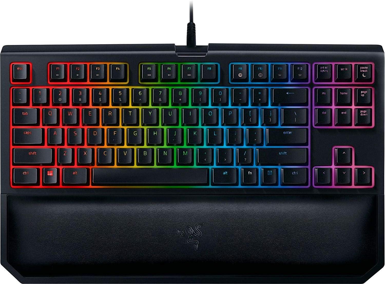 Razer BlackWidow TE Chroma v2 TKL Tenkeyless Mechanical Gaming Keyboard: Yellow Key Switches, Linear & Silent, Chroma RGB Lighting, Magnetic Wrist Rest, Programmable Macros, Classic Black