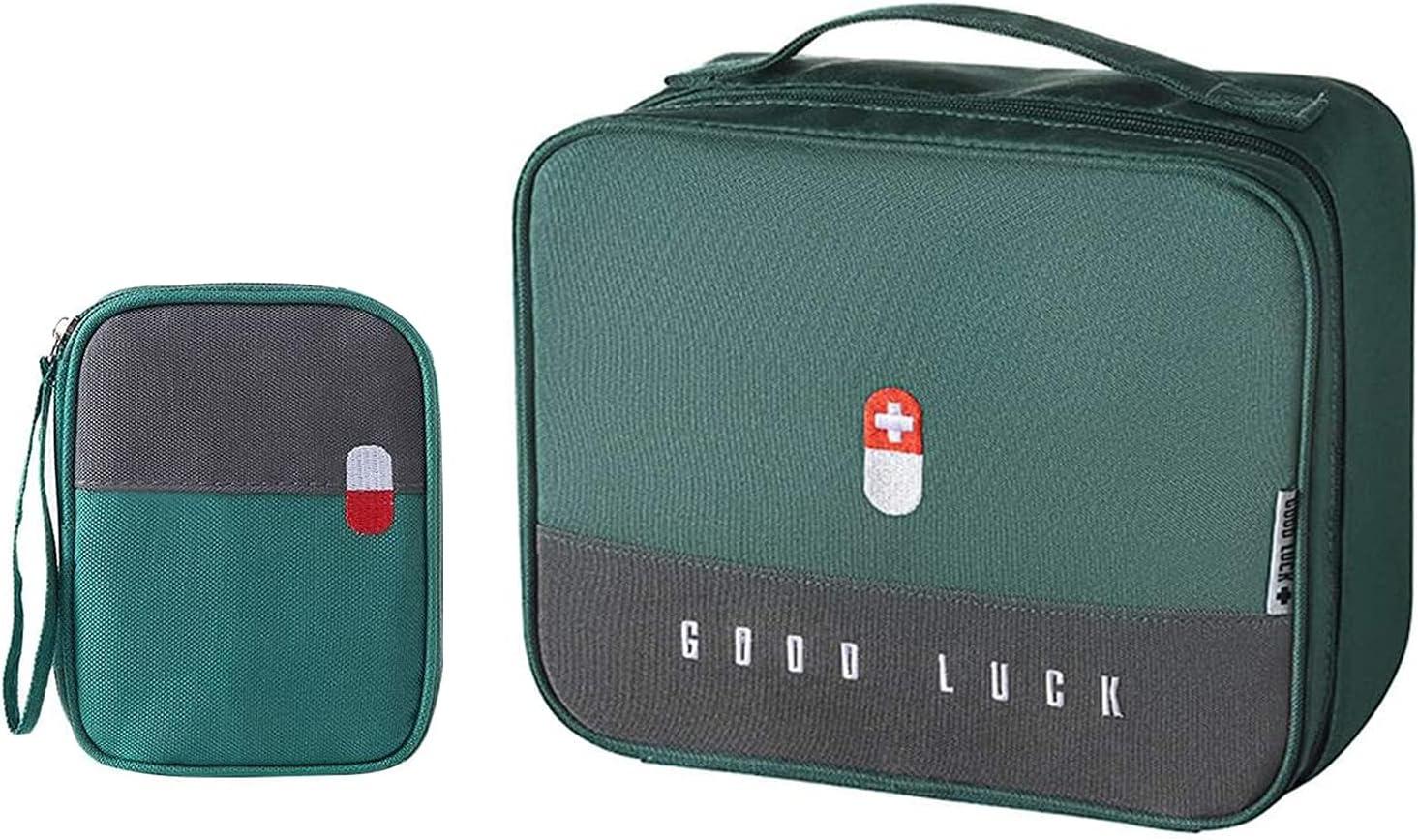 2 Piezas Caja Médica Portátil de Emergencia, Bolsa de Primeros Auxilios Compacta, Pequeña Bolsa de Medicina Para Emergencias, Para Emergencias, Hogar, Coche, Camping, Senderismo (Verde)
