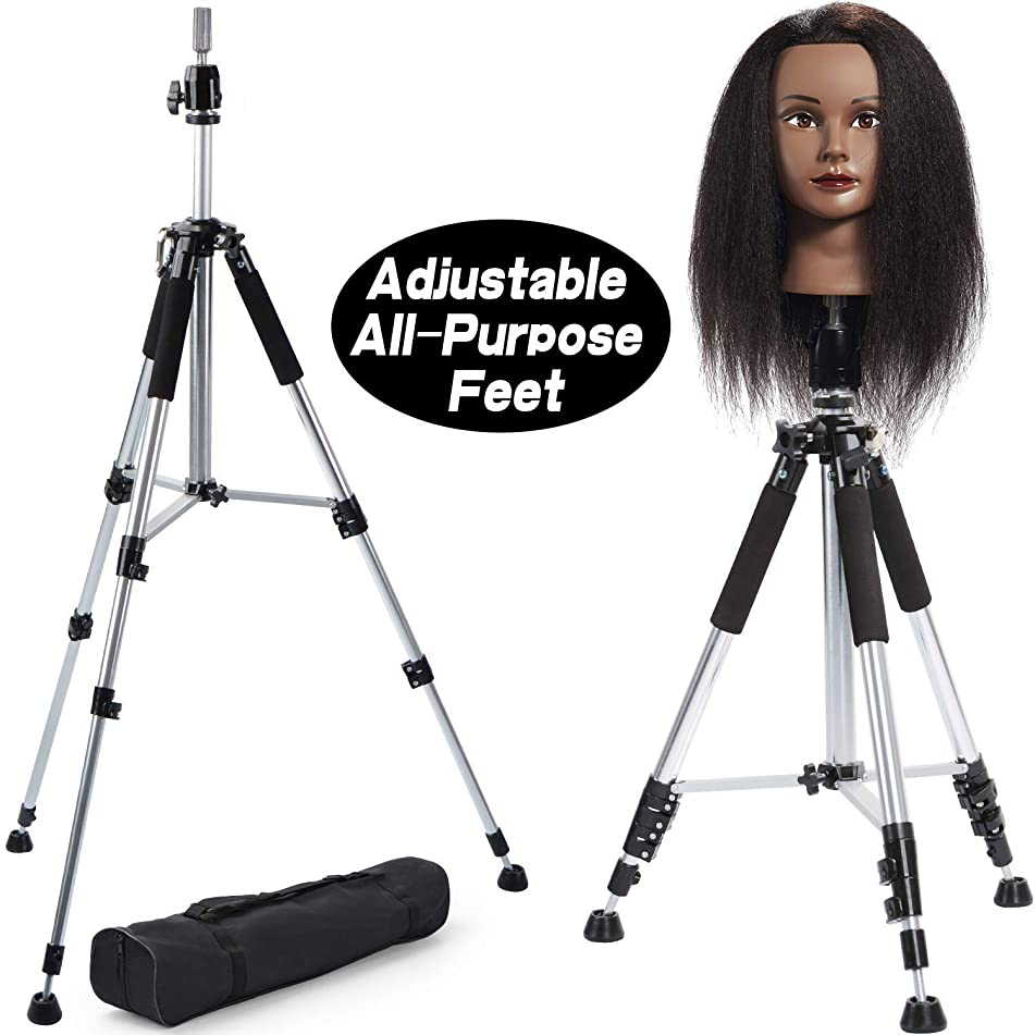Premium Aluminum Tripod Wig Stand, Klvied Adjustable Mannequin Head Stand, Heavy Duty Aluminum Canvas Wig Head Stand for Professional Hairdressing, Cosmetology Training With Travel Bag, Silver