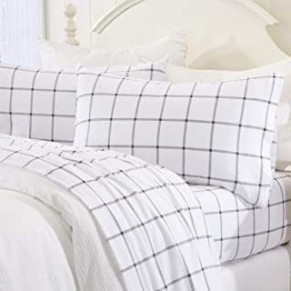 Extra Soft Windowpane 100% Turkish Cotton Flannel Sheet Set. Warm, Cozy, Luxury Winter Bed Sheets. Belle Collection (Queen, White/Grey)