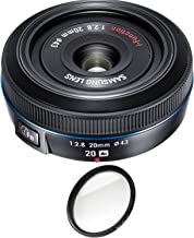 Samsung 20mm f/2.8 Pancake Lens for NX10 / NX100 (Black) with Pro Filter (Renewed)