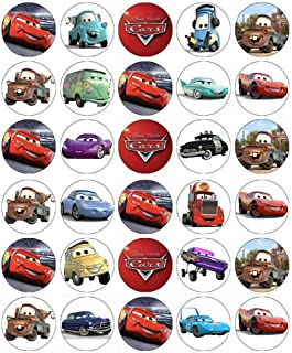 30 x Edible Cupcake Toppers – Cars Lightning McQueen Themed Collection of Edible Cake Decorations | Uncut Edible Prints on Wafer Sheet