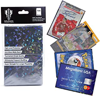 100 Colin Guardin Holographic Matte Card Sleeves for Standard Size 66 x 91mm Board Game Cards, Black Matte Card Protector ...