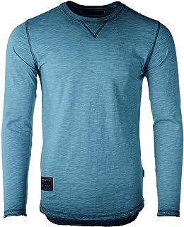 ZIMEGO Men's Long Sleeve Crew Neck Color Dye Washed Vintage Curved Hem T-Shirts