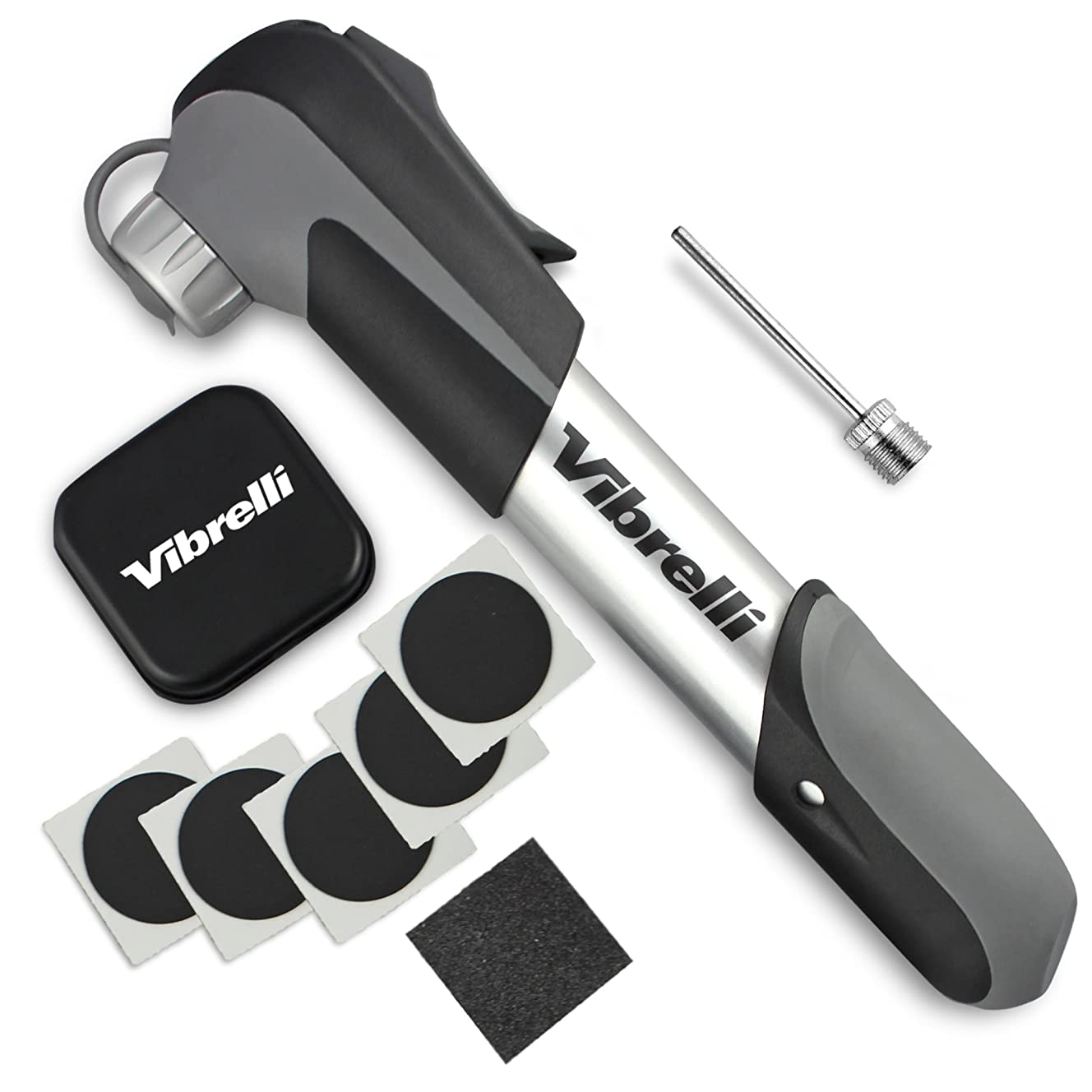 Vibrelli Mini Bike Pump & Glueless Puncture Repair Kit - Fits Presta & Schrader - 120 PSI - No Valve Changing Needed