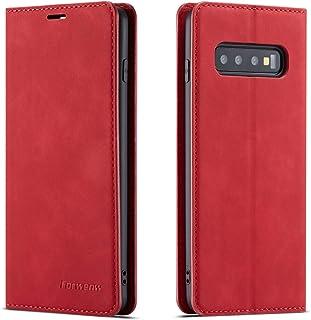 QLTYPRI Hülle für Samsung Galaxy S10, Premium Dünne Ledertasche Handyhülle mit Kartenfach Ständer Flip Schutzhülle Kompatibel mit Samsung Galaxy S10   Rot