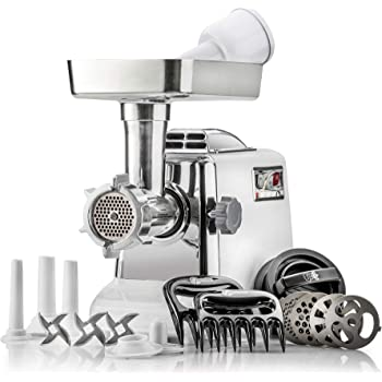 The Heavy-Duty STX Megaforce Classic 3000 Series Air Cooled Electric Meat Grinder Sausage Stuffer: 4 Grinding Plates, 3 S/S Blades, Sausage Tubes, Kubbe Maker. 2 Free Meat Claws & 3-in-1 Patty Maker!