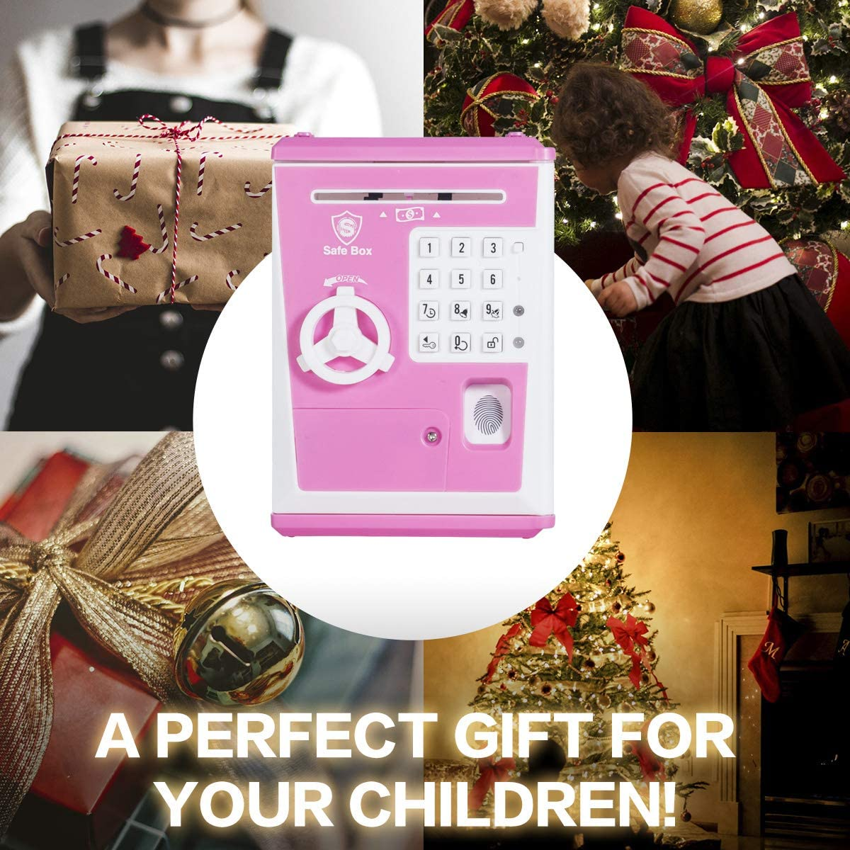 Voice Piggy Banks Fingerprint Password Kids Safe Coin Money Box Lyght Mini ATM Savings Bank for Real Money Cool Stuff Gift for Boys and Girls Pink