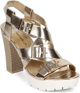 Women Metallic Cross Buckle Ankle Strap Lug Sole Chunky Heel CF78 - Champagne Metallic