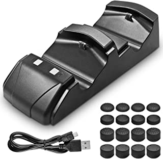 Charging Station for PS4 Controllers, AFUNTA Dual Shock Charger Dock for Playstation 4, 16 Silicone Thumbstick Pads
