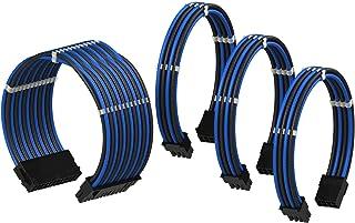 LINKUP - Cable con Manguito - Prolongación de Cable para Fuente de Alimentación con Kit de Alineadores | 1x 24P (20+4) MB | 1x 8P (4+4) CPU | 2X 8P (6+2) GPU | 50CM 500MM - Azul Negro