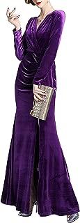 Women's 90s Retro Velvet Long Bodycon Side Slit Formal Evening Gown