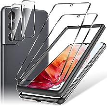 LK 4 Pièces Verre Trempé Compatible avec Samsung Galaxy S21,Contenir 2 Pièces Protection écran et 2 Pièces Caméra Arrière Protecteur,Double Protection,Outil d'installation Facile