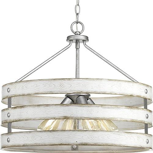 2021 Progress Lighting outlet online sale P500023-141 Gulliver Four-Light popular Pendant, Galvanized Finish sale