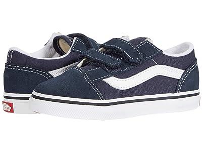 Vans Kids Old Skool V (Infant/Toddler) (India Ink/True White) Boys Shoes
