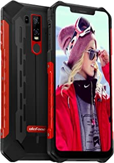 Rugged Phones Unlocked, Ulefone Armor 6E IP68 Waterproof Cell Phone Android 9 Helio P70 4GB+64GB 6.2 inch 19:9 FHD+ 5000mAh Dual Camera Global Dual 4G, US Plug Face ID+UV Sensor, NFC+GPS+Glonass (Red)