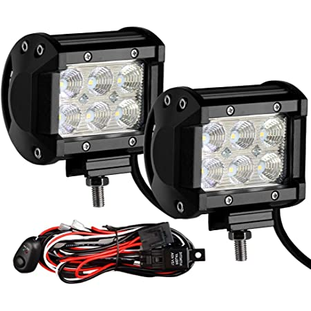Amazon.com: Led Light Bar YITAMOTOR 2PCS 4Inch 18W LED Work Light Flood LED  Light Pods Offroad Lights Truck Light Fog Light Driving Lights Waterproof  with Wiring Harness for SUV ATV UTV Tractor | Wiring On A Tractor Work Lights |  | Amazon.com