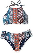 SEASELFIE Women's Halter Bikini Set Tie Back High Cut Floral Print Swimsuit