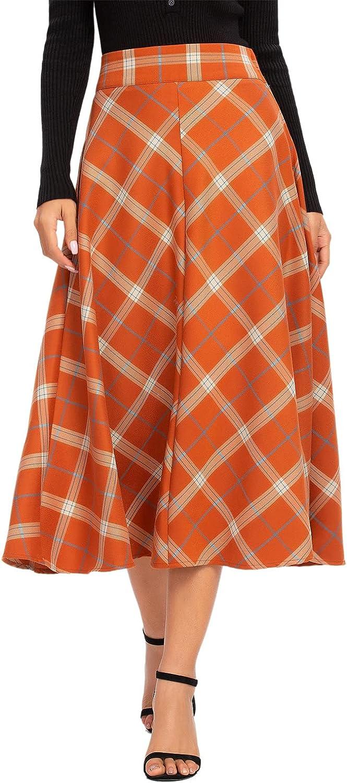 ALCEA ROSEA Womens High Waist San Francisco Mall Plaid Chic Skirt Elast Midi Max 90% OFF A-line