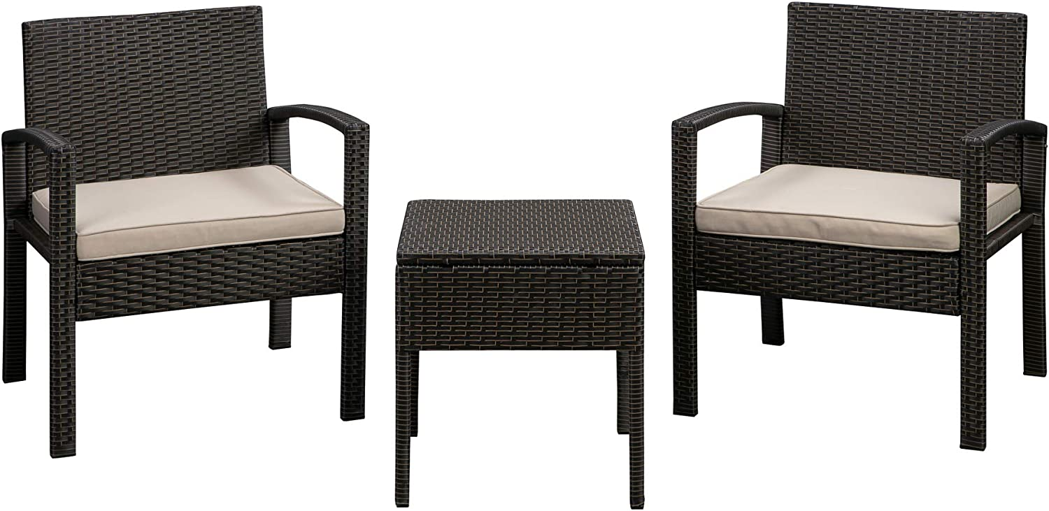 Patio Sense Bern 3 Piece Conversation All M Set Our shop OFFers the best service Wicker Weather Tucson Mall