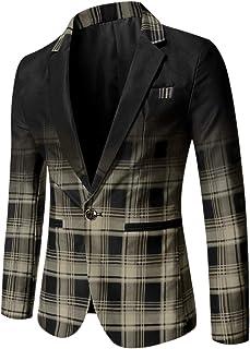 Lars Amadeus Men's Casual Bussiness Check Sport Coats Slim Fit One Button Plaid Dress Blazer