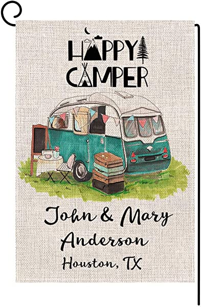 Personalized RV Garden Flag Custom Happy Camper Small Burlap Yard Flag Vertical Double Sided 12 5 X 18 Inch Summer Fall Outdoor Decor
