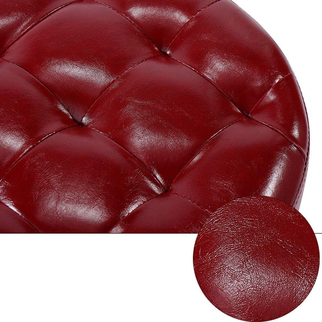 SJB Tabouret Pouf Repose-Pieds Petit Banc Petit Tabouret Table à Langer Repose-Pieds Tabouret PU Tabouret Bas Tabouret Chaise à Manger Famille (Color : Dark Brown) Dark Red