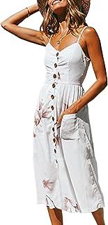 b54fa33e179a Angashion Women's Dresses-Summer Floral Bohemian Spaghetti Strap Button  Down Swing Midi Dress with Pockets