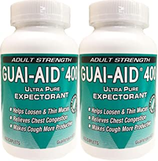 800 GUAI-AID 400mg, Mucus Relief Guaifenesin, Dye-Free Fas Acting Caplets (2 Bottle of 400mg caplets)
