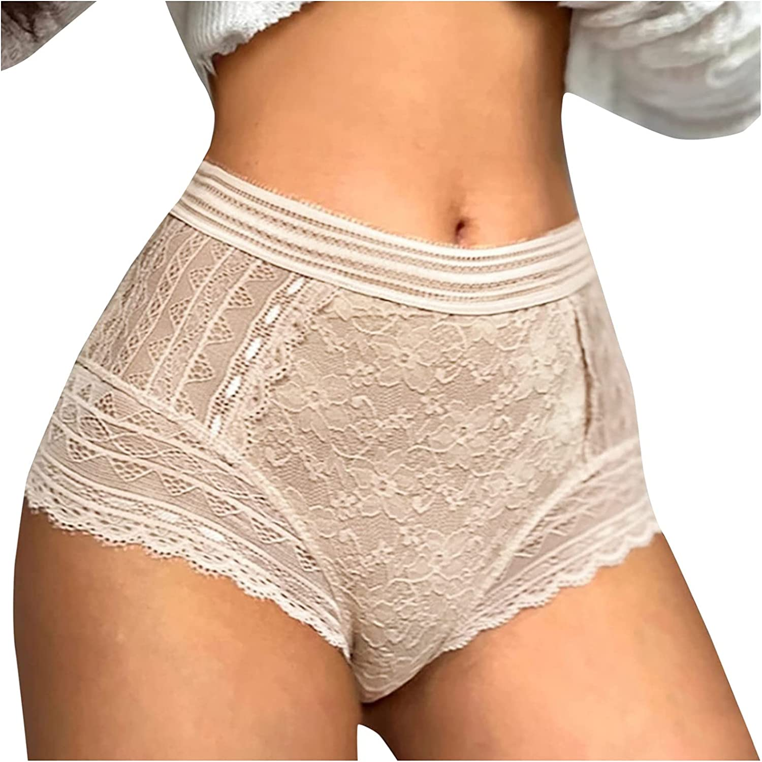 A2A Womens Underwear Invisible Seamless Hipster Lace Underpants Full Coverage Panties Hollow Out High Waisted Boyshort