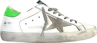 Golden Goose Scarpe Sneakers Uomo Vintage Superstar 10286 Bianco Verde Fluo