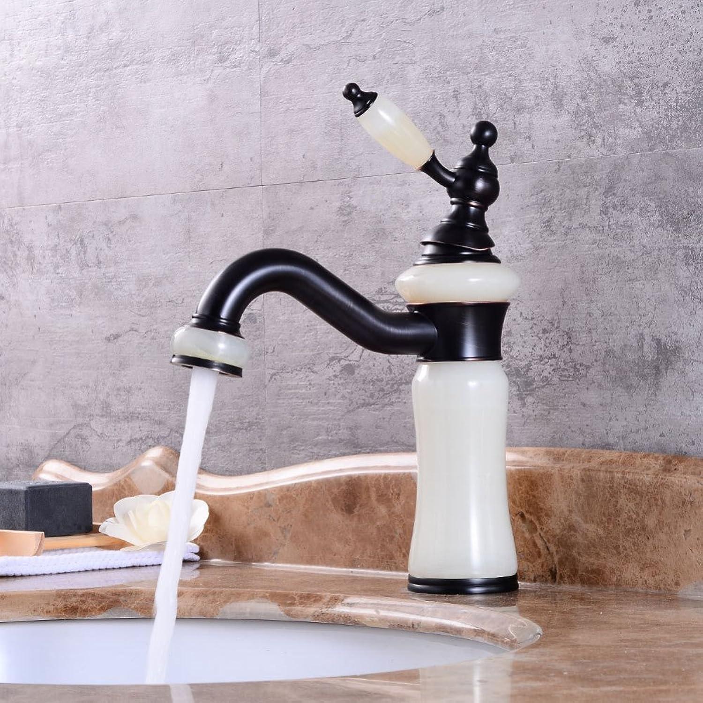 LPW faucet European black basin hot faucet natural jade faucet bathroom redating retro wash basin faucet