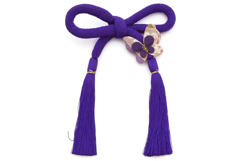 (ソウビエン) 髪飾り 成人式 卒業式 紫 蝶 無地 縮緬 丸ぐけ 紐短め ちょい足し 房飾り 帯飾り 浴衣 七五三 日本製