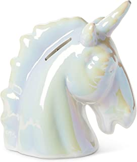 Tri-coastal Design Unicorn Piggy Coin Bank for Girls Metallic Pearl Unicorn Money Banks for Kids - Large Ceramic Piggy Bank for Coins and Savings - Nursery Decor and Toy Bank Keepsake for a Baby Girl