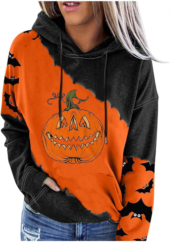 Halloween Costumes for Women,Casual Loose Sweatshirts Long Sleeve Pumpkin Festival Crewneck Pullover Tops Hoodies