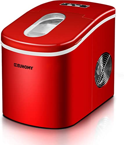 Euhomy Ice Maker Countertop, 26lbs/24H Portable Compact ice maker machine, 9 Ice cubes ready in 6-8 Mins, with Ice Sc...